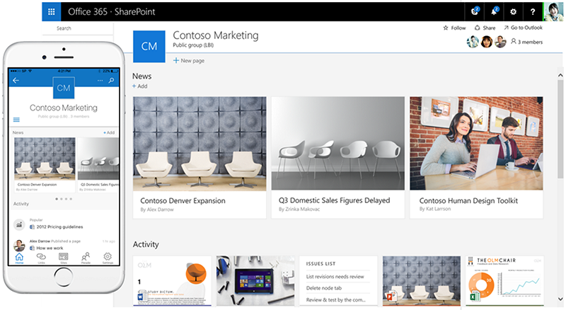 SharePoint Team Site's new design - both sexy and functional